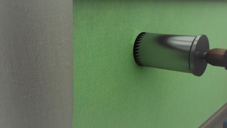 Шаг 2: монтаж за 40 минут В стене делается сквозное вентиляционное отверстие диаметром 132мм. Работы производятся специальным оборудованием, методом алмазного бурения без пыли, грязи на чистовую отделку. Отверстие теплоизолируется и закрывается вентиляционной решеткой со стороны улицы.